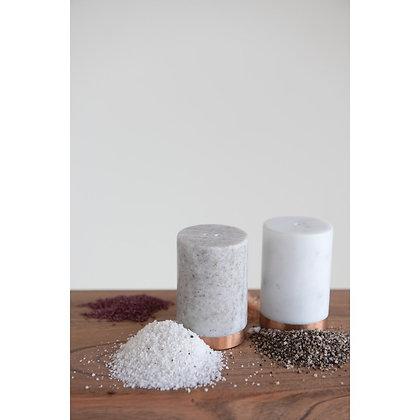 Marble Salt & Pepper Shaker W/ Copper Base