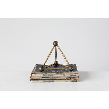 Metal Obelisk Decor, Antique Brass Finish