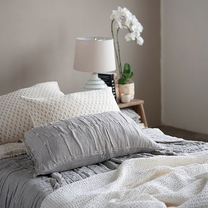 Cotton Waffle Weave Bed Cover w/ 2 Stitched Shams, White & Grey