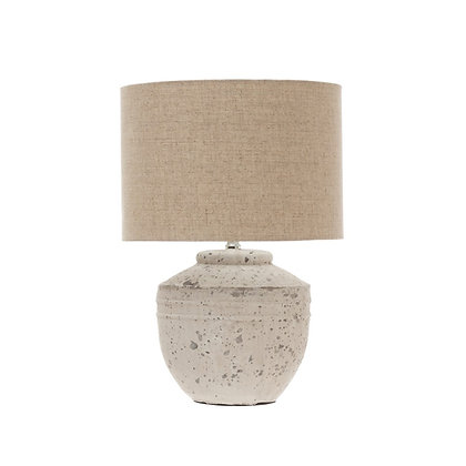 Cement Table Lamp with Linen Shade, Distressed White