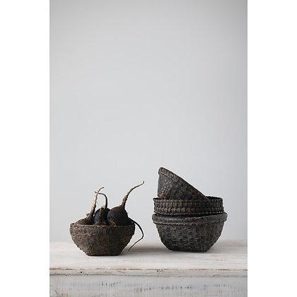 Decorative Cane Basket, Distressed Black