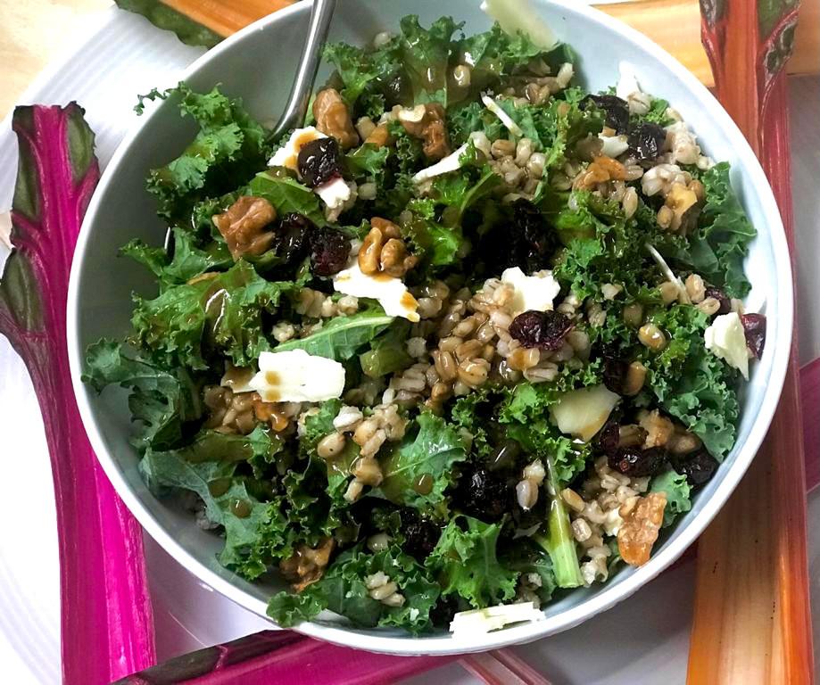 Salada de cevadinha, kale, pekan no caramelo de especiarias, cranberry, queijo meia cura, molhinho agridoce