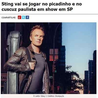 O cantor britânico Sting se apresentou em São Paulo e provou o cardápio elaborado pela chef Rita Atrib