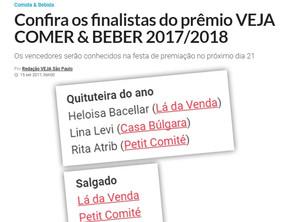 Petit Comité é indicado no Prêmio Veja Comer & Beber 2017/2018