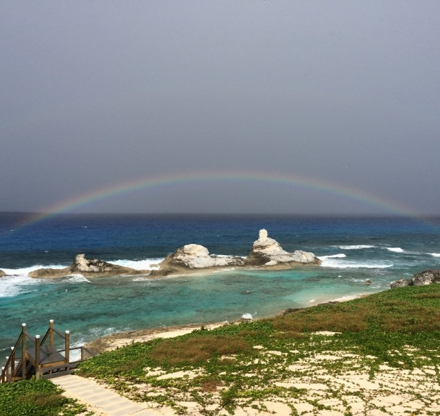 Rainbows after the rain at Chimney Rock