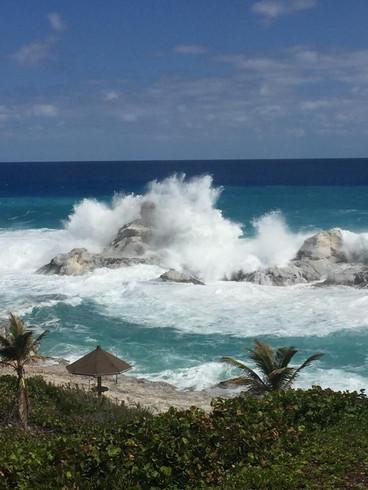 Crash waves against Chimney Rock!