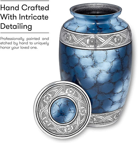 Cremation Urn for Ashes,  Blue Funeral Burial Urns