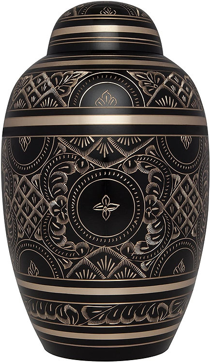 Black Cremation Urn for Human Ashes with Gold Engraving - Hand Made in Brass