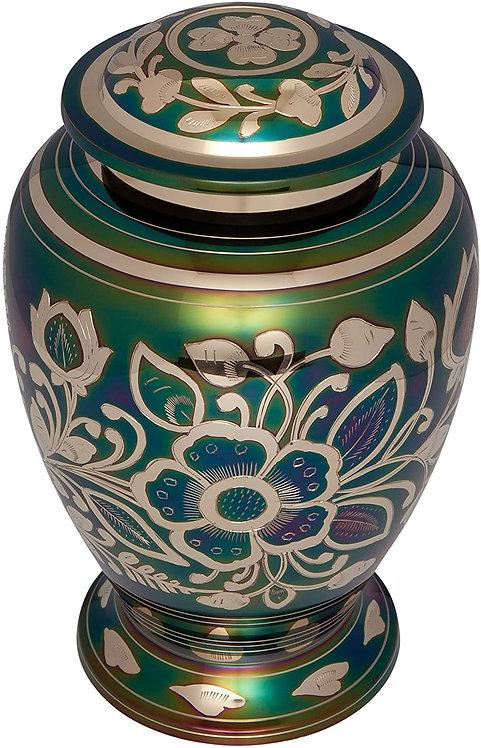 Green Funeral Urn  - Cremation Urn for Human Ashes - Hand Made in Brass