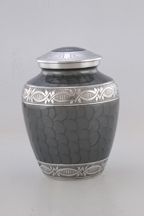 Silver Engraved Cremation Urn for Human Ashes Adult Funeral Urn   - Grey/Silver