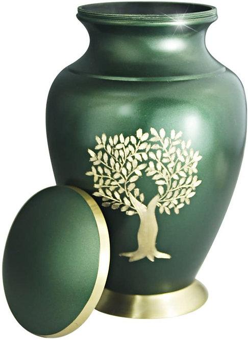 Brass Funeral Urn for Women or Men - Large Metal Hand Engraved