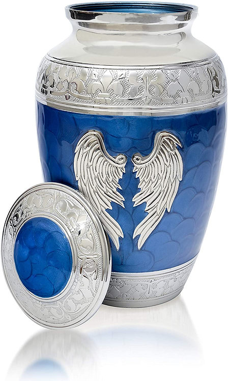 Angel Wings Urn. Blue Cremation urns for Human Ashes