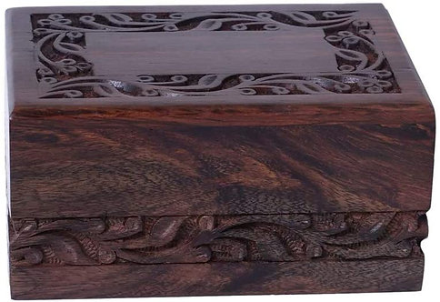 Wooden Urn Box for Human Ashes, Cremation Funeral Urns Box