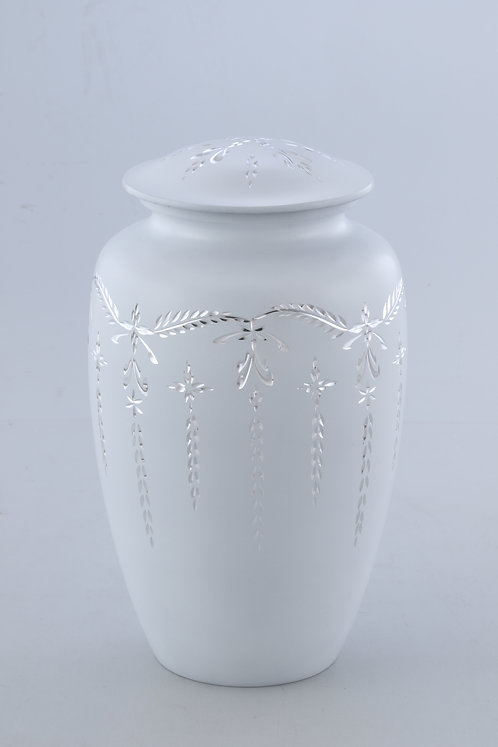 Silver Diamond Engraved Cremation Urn for Human Ashes Adult Funeral Urn- Black