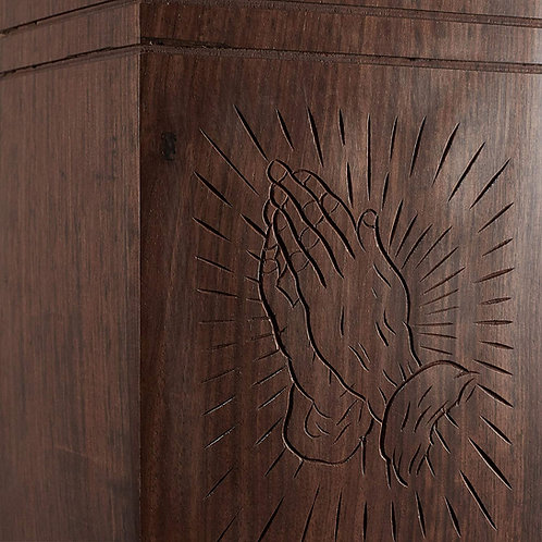 Rosewood Hand-Carved Praying Hands Urn Box