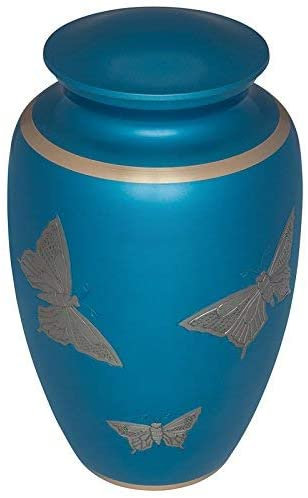 BLUE Funeral Cremation Urn with Silver Butterflies