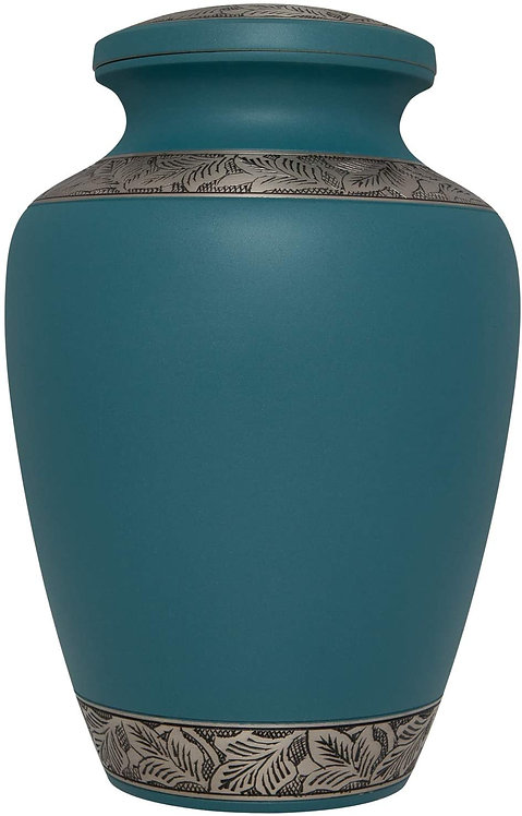 BLUE  Cremation Urn for Human Ashes - Hand Made in Brass and with Beautiful Hand