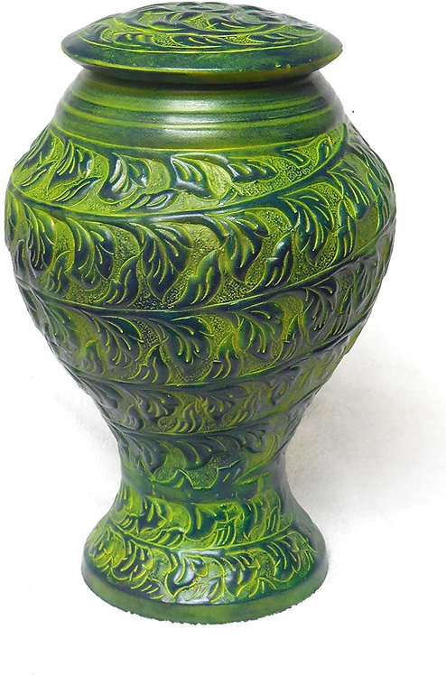 Green Funeral Urn Cremation Urn for Human Ashes - Hand Made in Metal
