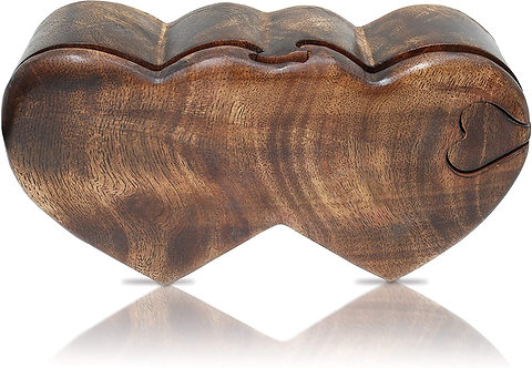 Double Heart Puzzle Wooden Cremation Urn or Keepsake Box