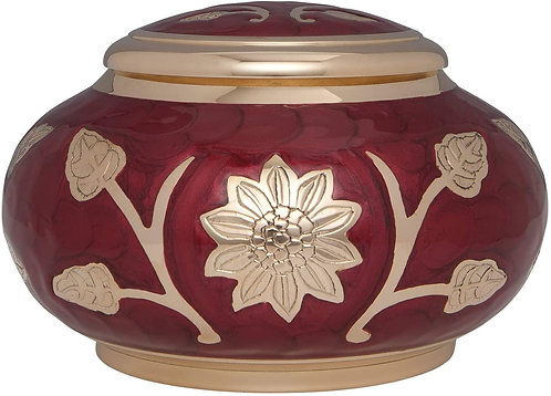 Red Cremation with Gold Flower - Funeral Urn for Human Ashes