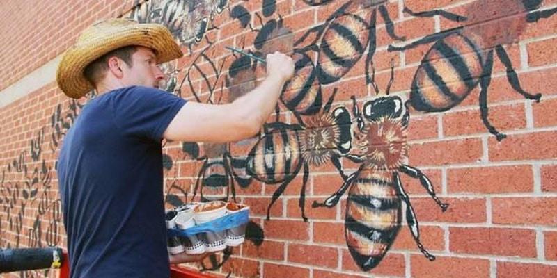 Muralist Matthew Willey Paints DC Honeybee Mural