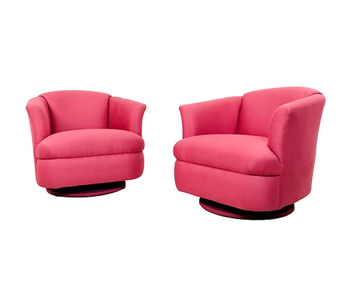 #5296 Pair of 1980s Pink Lounge Chairs