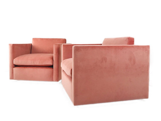 #4428 Pair of Coral Velvet Cube Chairs