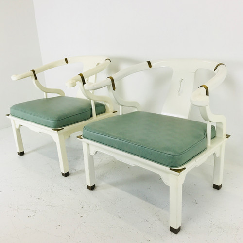 #3643 Pair White Lacquered Ming Chairs With Mint Green Upholstery Design