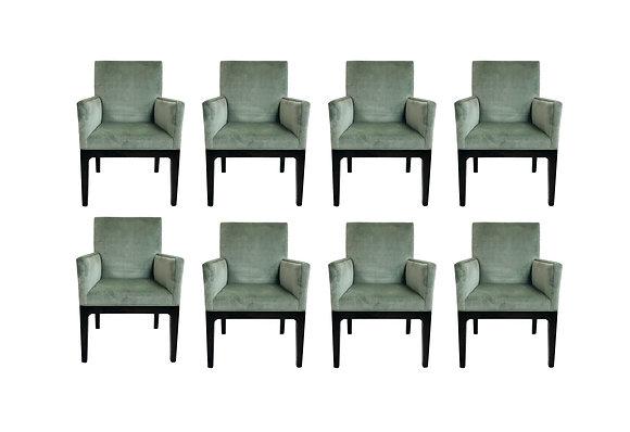 #5703 Set of 8 Velvet Dining Chairs