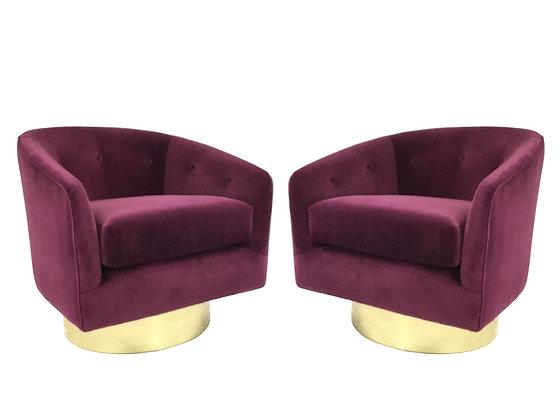 #2549 Pr Merlot Velvet Milo Baughman Swivel Chairs