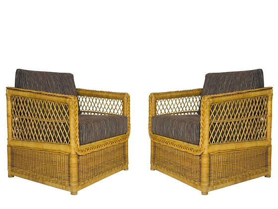 #4309 Pair McGuire Style Rattan Chairs