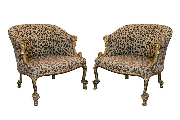 #1293 Pair Leopard Gilded Rope & Tassel Chairs