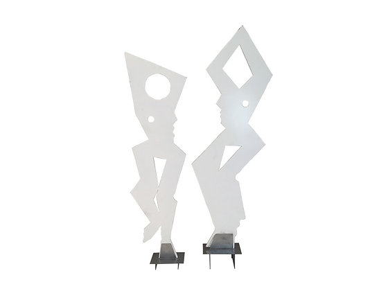 #2016 Pair White Abstract Sculptures
