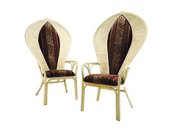 #2029 Pair Rattan Fan Back Chairs