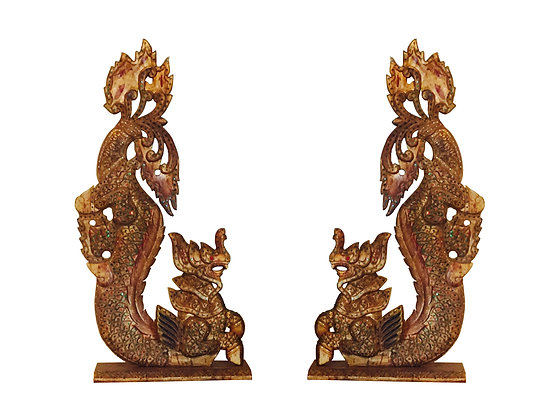 #2383 Pair Gold Wood Dragon Statues