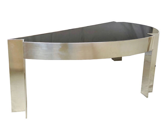 "#2994 ""Mezzaluna"" Polished Steel Desk by Leon Rosen for Pace Collection"