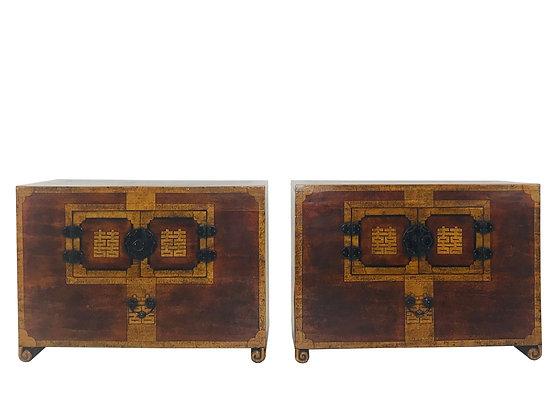 #3911 Pair of Korean Paper Mache Chests
