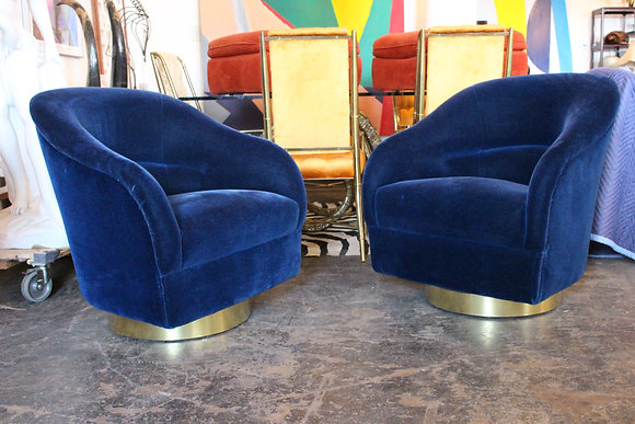 8864 Pr Blue Mohair Swivel Chairs by Ward Bennett