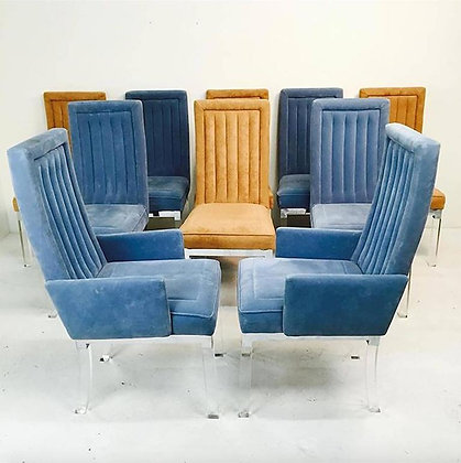 #1415 Set of 10 Charles Hollis Jones Lucite Chairs