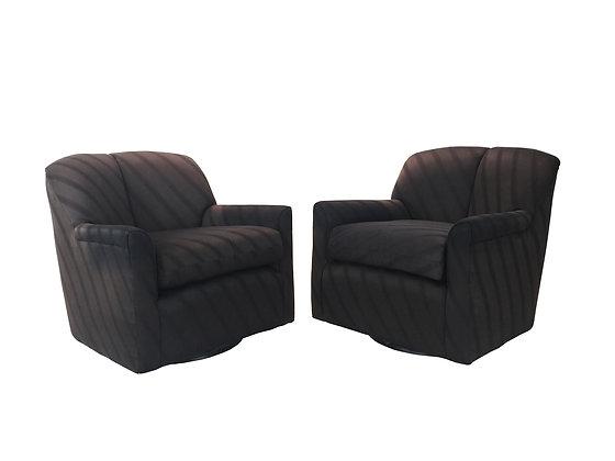 #1945 Pair Black Swivel Chairs