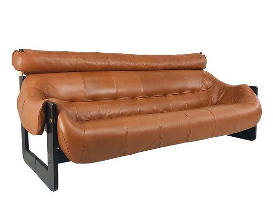 #3997 Percival Lafer Leather & Wood Sofa
