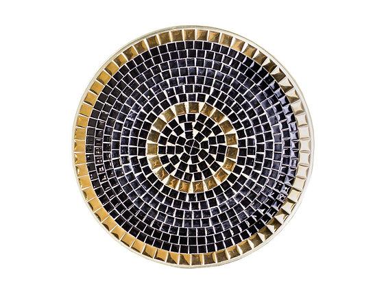 #3082 Black & Gold Mosaic Plate