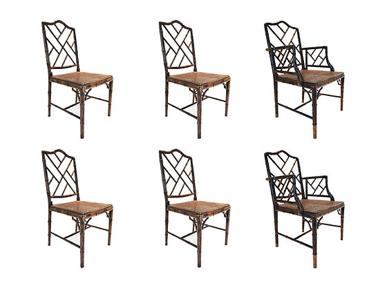 #1768 Set of 6 Faux Bamboo Chippendale Chairs