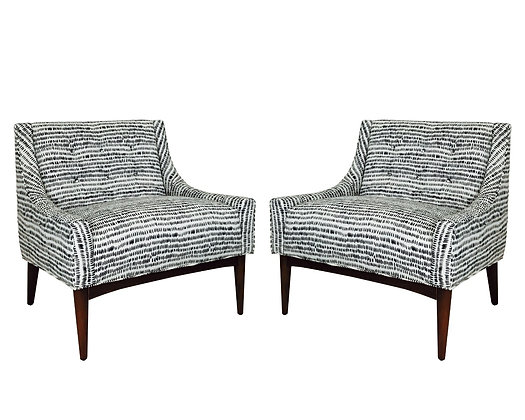 #1224 Pair Low Slipper Chairs by Milo Baughman for James Inc.