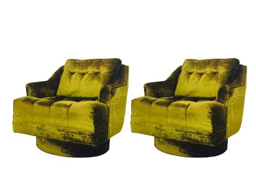 #3321 Pair Of Milo Baughman Green Velvet Swivel Chairs