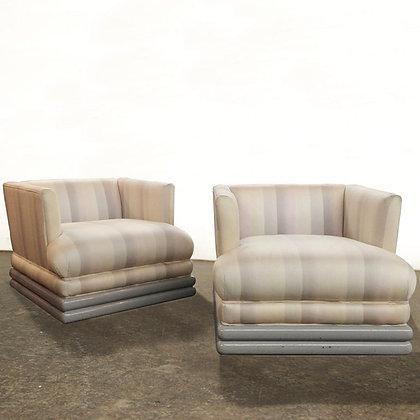 #6145 Pair Striped Arm Chairs