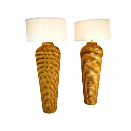 #5242 Pair Grand Scale Rope Floor Lamps