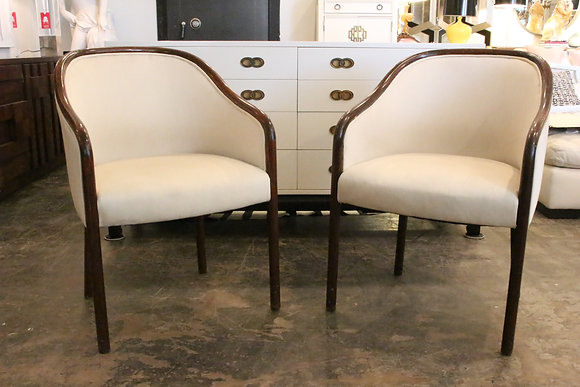 #1320 Pair Ward Bennett Chairs in Cream Upholstery