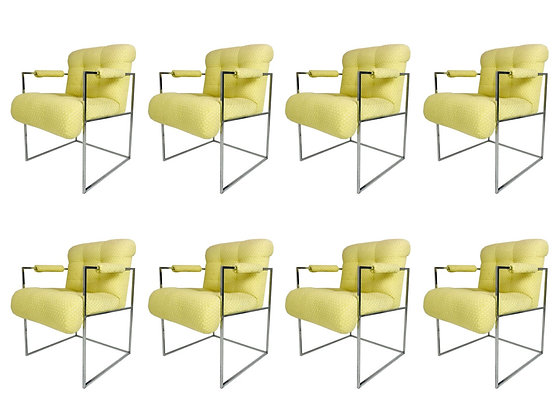 #4302 Thin Line Chrme Mid Century Armchairs by Milo Baughman - Set of 8