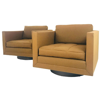 #4552 Pair of Harvey Probber Cube Swivel Chairs, Signed